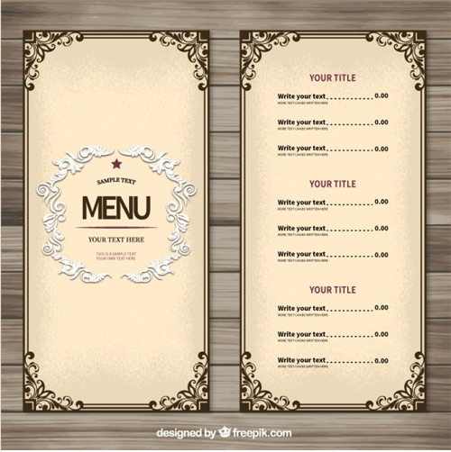 Ornamental-menu-template