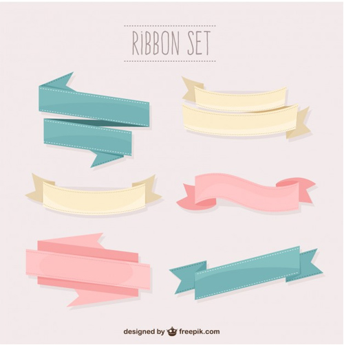 Pastel-colors-ribbons-set