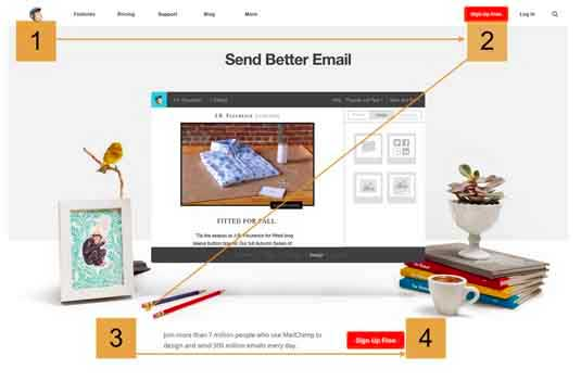 the MailChimp homepage