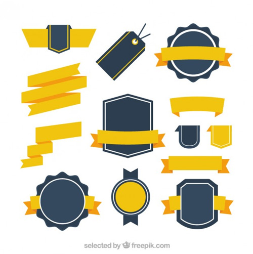 Retro-badges-collection-with-yellow-ribbons