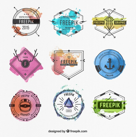 Watercolor-badges-collection