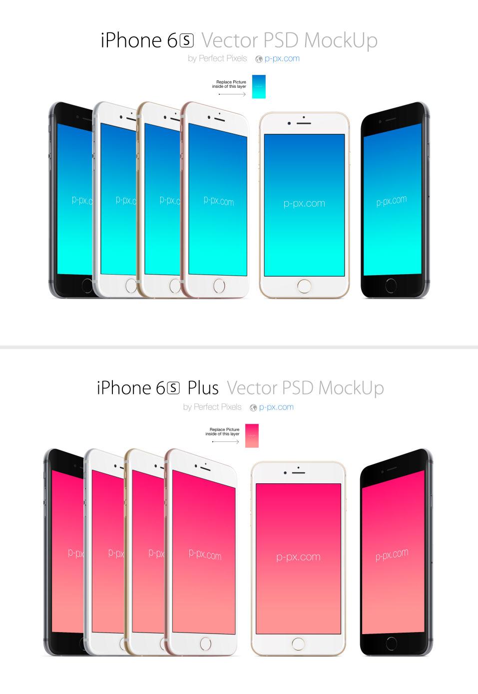完美的iPhone6S 和 iPhone6S plus 展示模型PSD下载