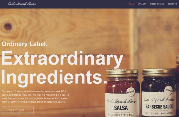 curt special recipe website homepage design