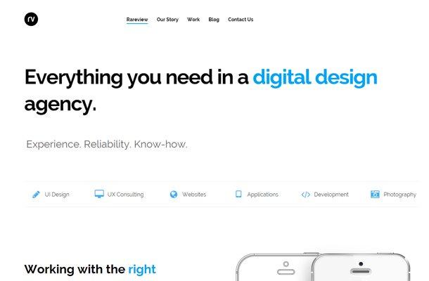 rareview white minimalist homepage
