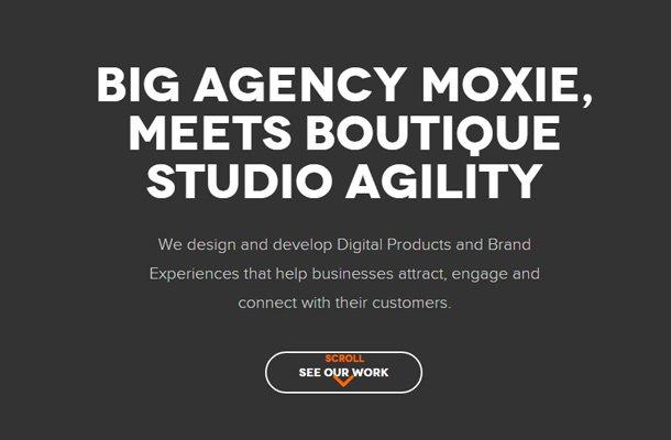 pons creative group homepage dark layout