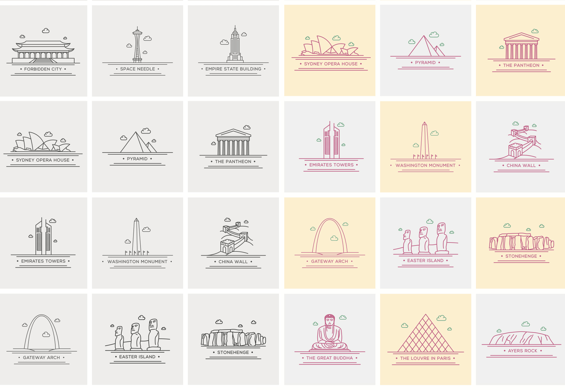 world-landmark-line-vector-icons