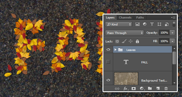 PS新手教程!手把手教你绘制萧瑟的秋天落叶字效