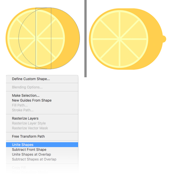 unite the body of the lemon