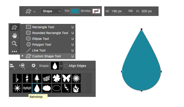 make a leaf from the raindrop custom shape