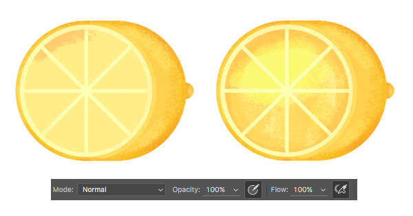 make the segments of the lemon textured