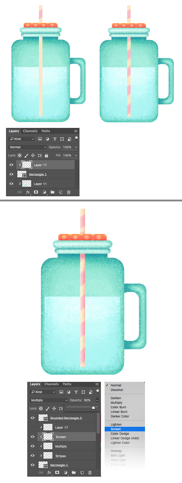 shape the straw with linked layers