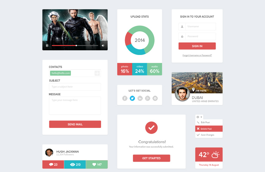 Clean-Flat-UI-Kit-Free-PSD