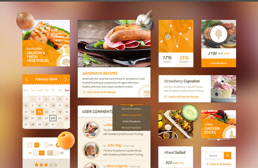 Delicious-Recipes-Food-UI-Kit-Free-PSD