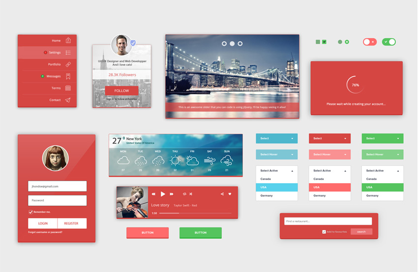 RedLight-Complete-UI-Kit-Free-PSD
