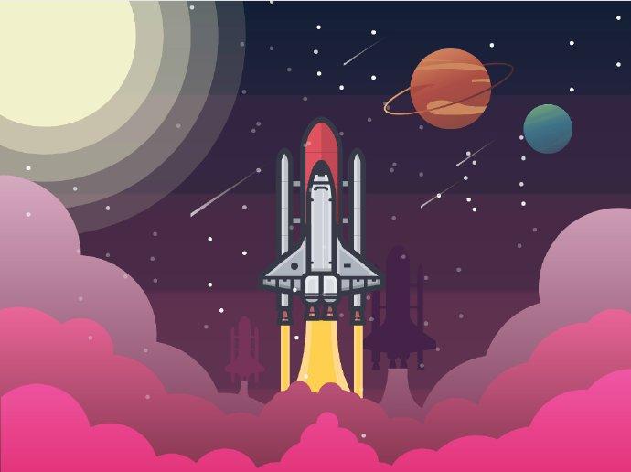 AI教程!教你绘制追波热门的太空场景飞机插画