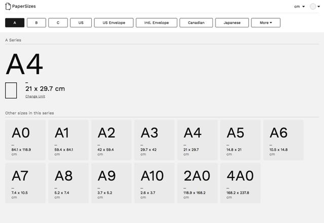 酷站两连发!纸张尺码对照表+免费影片素材库