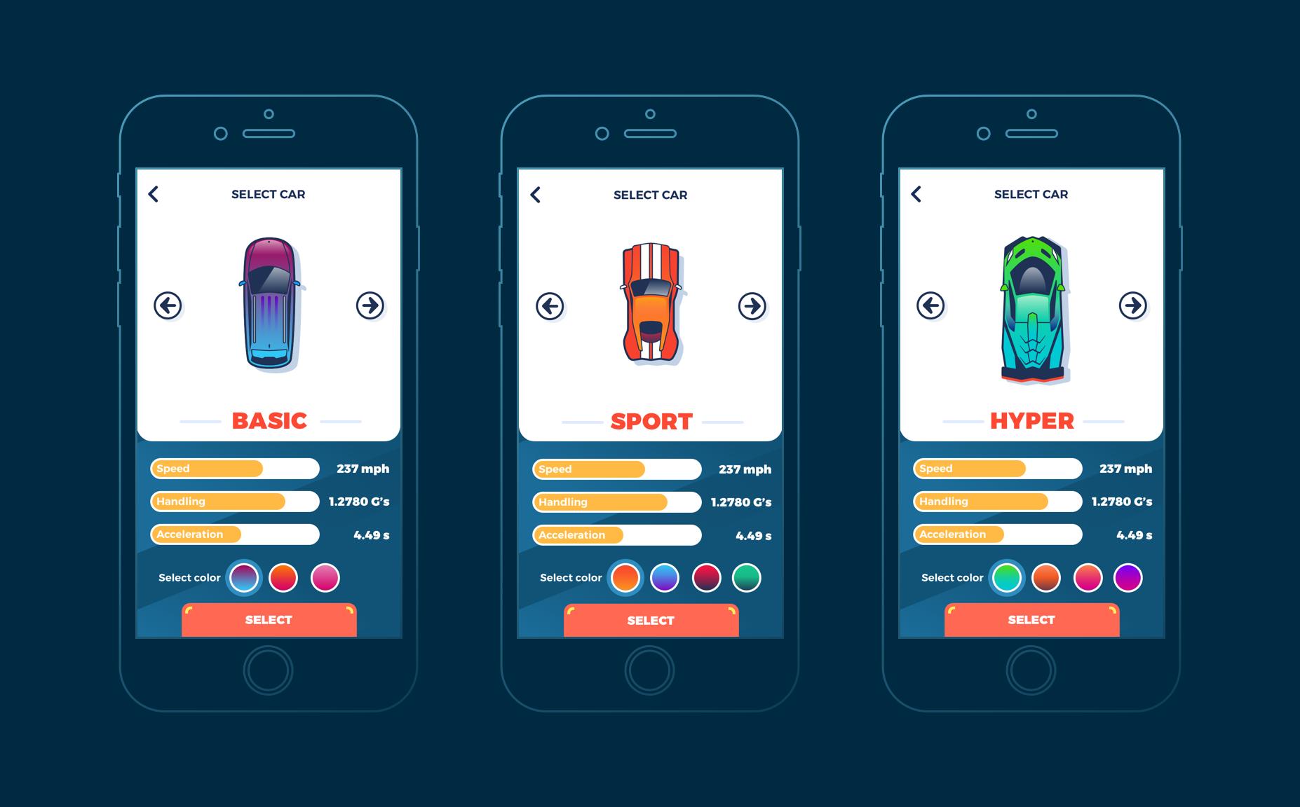设计实战!扁平风的手机赛车游戏UI界面是这样设计的