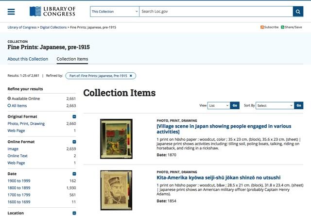 美国国会图书馆开放 2600 幅浮世绘画作,JPEG、GIF 和 TIFF 格式免费下载!