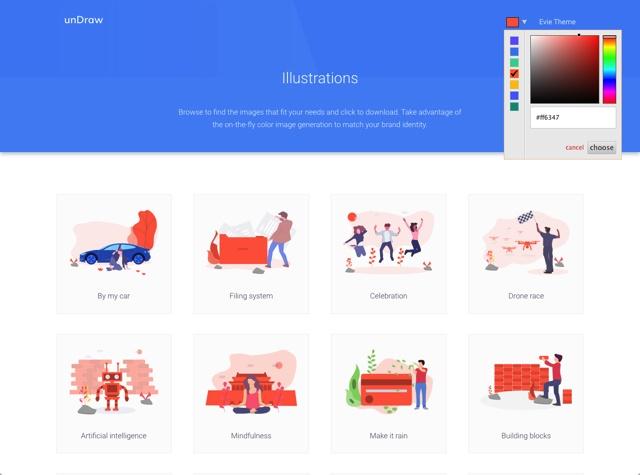 这个网站不仅有免费的插图下载,还可以修改颜色!