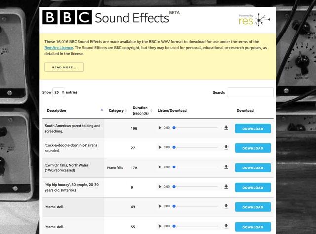 BBC官方资源!16000 个音效素材免费下载!
