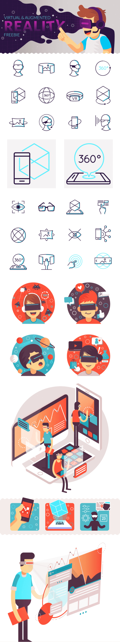 未来就在这里! 一组AR 和VR 相关的图标合集免费打包下载