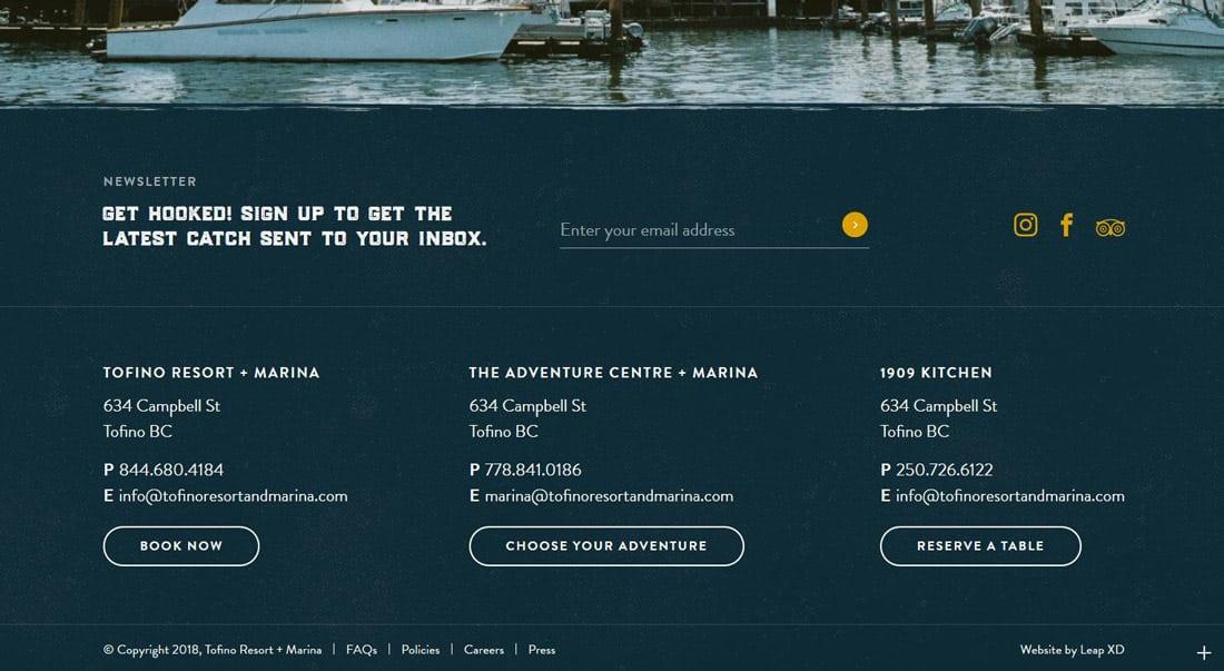 即使是最靠下的网站页脚,设计上同样很讲究