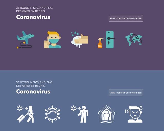 疫情专用素材包!Iconfinder 推出新冠病毒防疫免费图标素材包