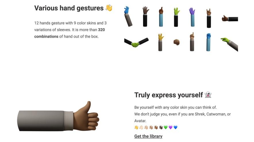 免费可商用!超过320种组合的3D手势插画素材打包下载