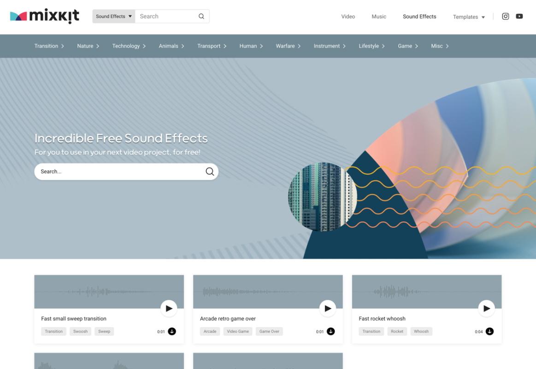 Mixkit 推出新网站!超多音效素材免费下载可商用!
