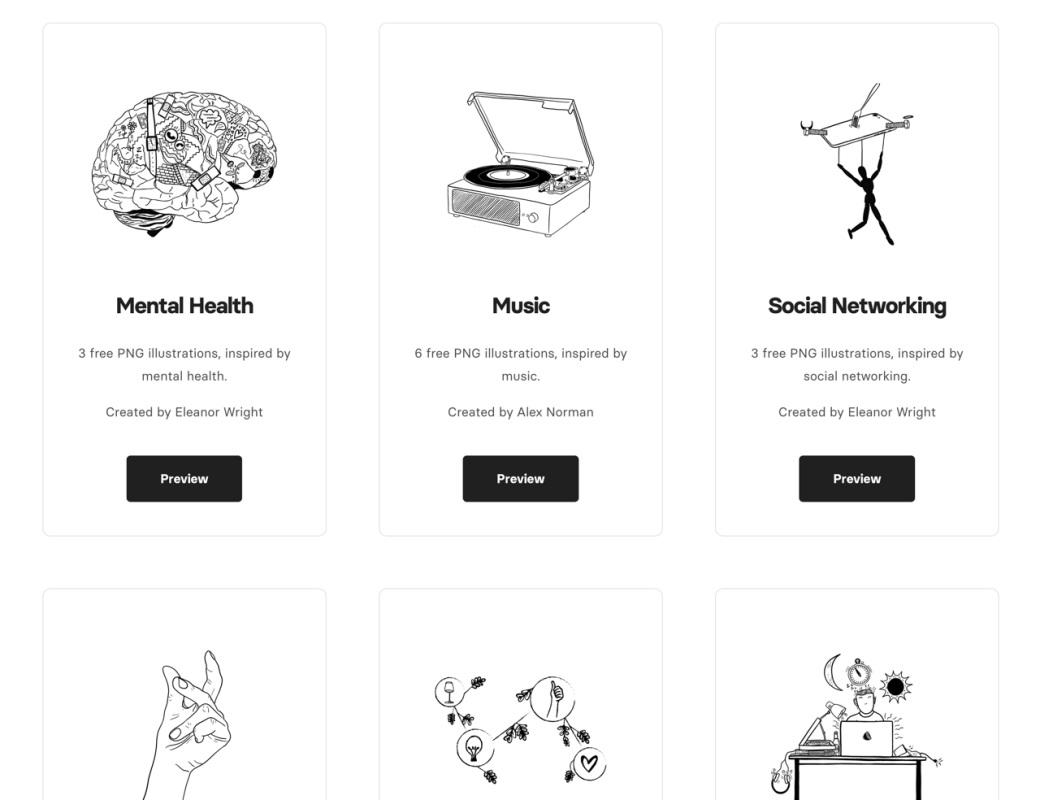 免费可商用!Skribbl 提供质量超高的手绘插画素材下载!