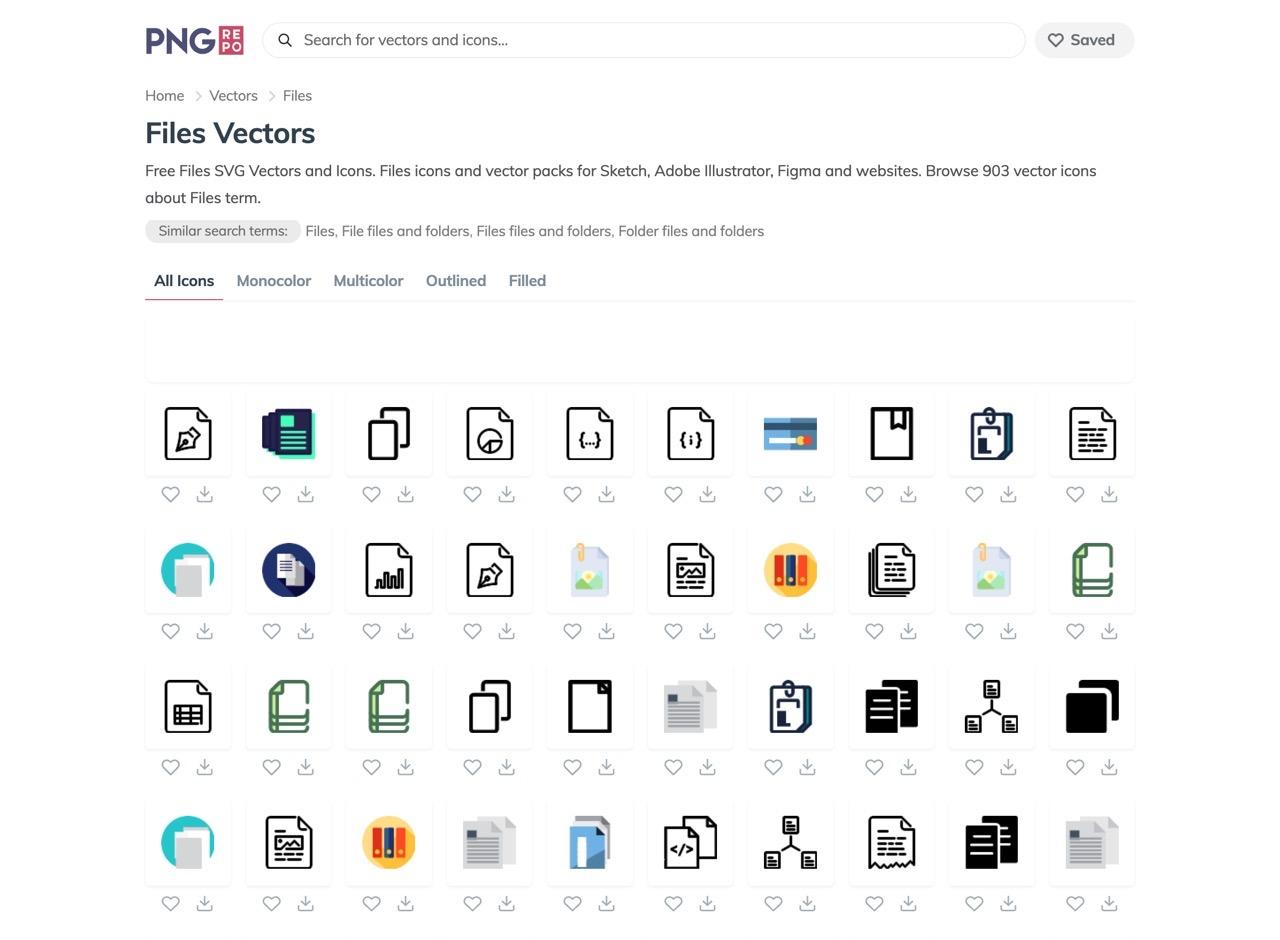 收录超过 30 万个高质量免费图标的网站「PNG Repo」